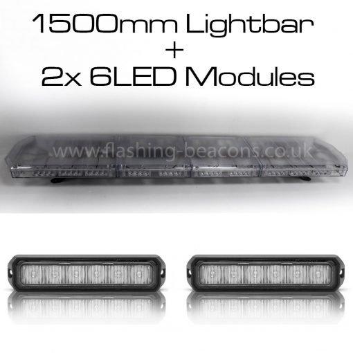 Ic360 1500mm Apollo-lightbar + 2x6led-modules 12v - flashing-beacons.co.uk