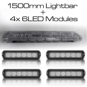 Ic360 1500mm Apollo-lightbar + 4x6led-modules 12v - flashing-beacons.co.uk