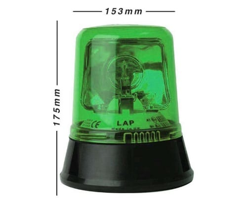 Lap254g 3-bolt Green  12v - flashing-beacons.co.uk