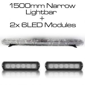 Ic360 1500mm Gemini-lightbar + 2x6led-modules 12v - flashing-beacons.co.uk