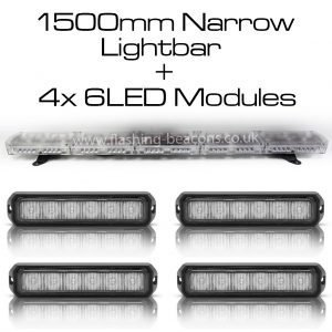 Ic360 1500mm Gemini-lightbar + 4x6led-modules 12v - flashing-beacons.co.uk