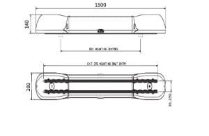 Britax Aerolite 1500mm 12v Quad-halogen - flashing-beacons.co.uk